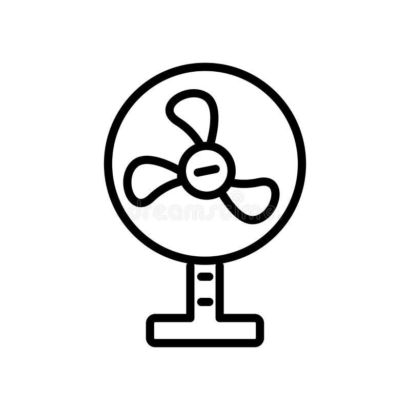 Vector del icono de la fan aislado en el fondo blanco, muestra de la fan, linear ilustración del vector