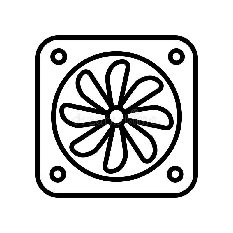 Vector del icono de la fan aislado en el fondo, la muestra de la fan, la línea y los elementos blancos del esquema en estilo line libre illustration