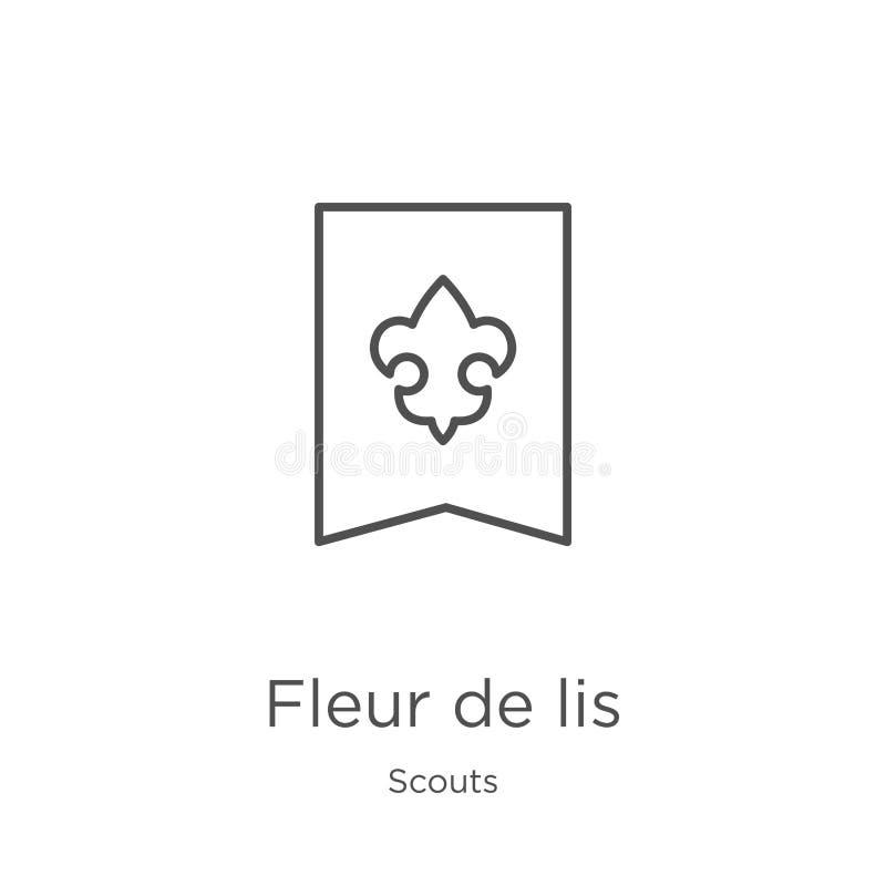 vector del icono de la flor de lis de la colección de los exploradores Línea fina ejemplo del vector del icono del esquema de la  libre illustration