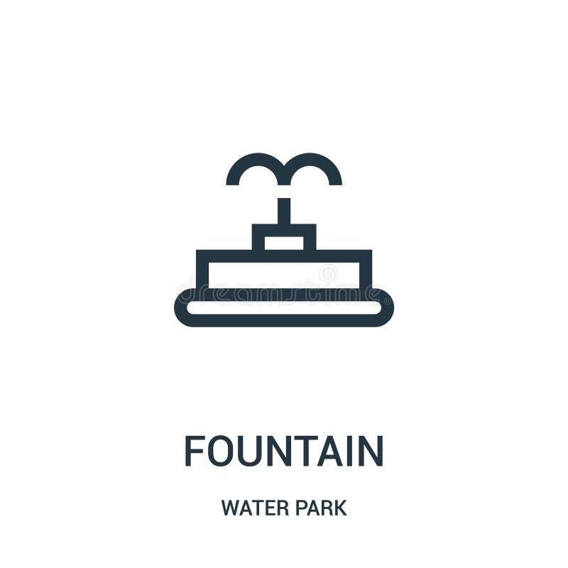 vector del icono de la fuente de la colección del parque del agua Línea fina ejemplo del vector del icono del esquema de la fuent stock de ilustración
