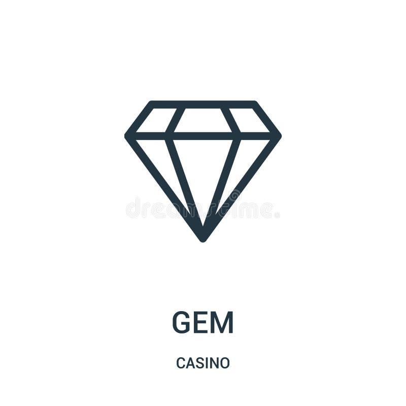 vector del icono de la gema de la colección del casino Línea fina ejemplo del vector del icono del esquema de la gema libre illustration
