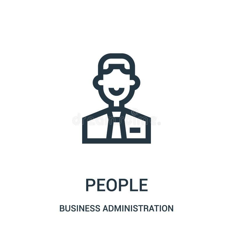 vector del icono de la gente de la colección de la administración de empresas Línea fina ejemplo del vector del icono del esquema ilustración del vector