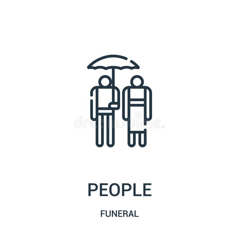vector del icono de la gente de la colección fúnebre Línea fina ejemplo del vector del icono del esquema de la gente Símbolo line stock de ilustración