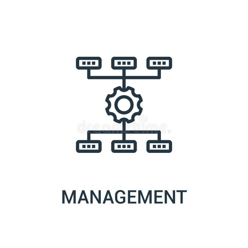 vector del icono de la gestión de la colección del seo Línea fina ejemplo del vector del icono del esquema de la gestión Símbolo  stock de ilustración