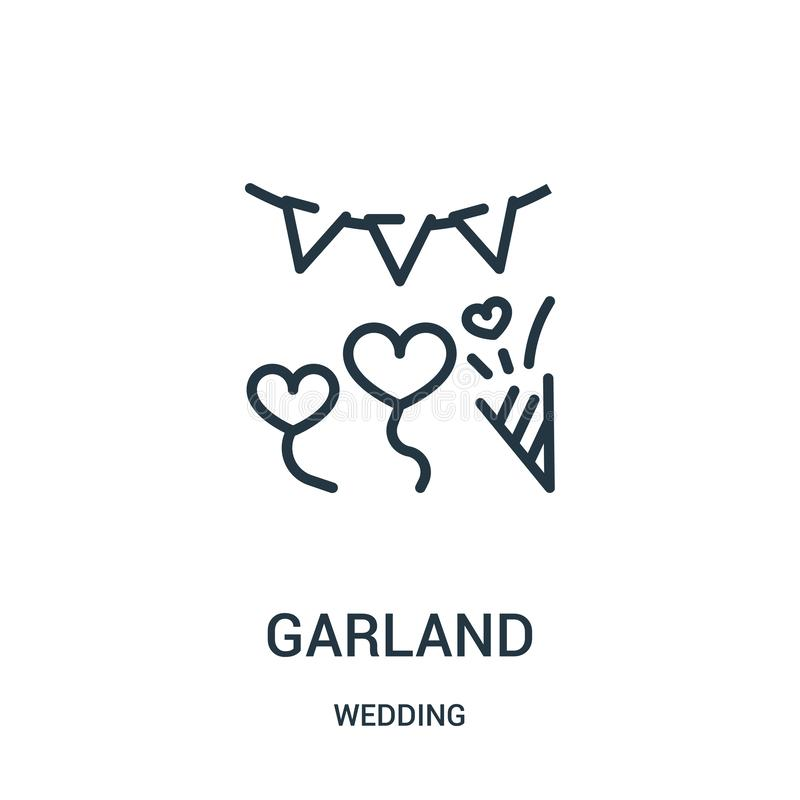 vector del icono de la guirnalda de casarse la colección Línea fina ejemplo del vector del icono del esquema de la guirnalda Símb libre illustration