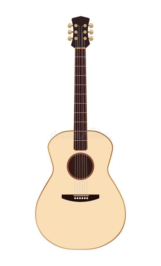 Vector del icono de la guitarra, muestra ac?stica del instrumento musical aislada en el fondo blanco Estilo plano de moda para el ilustración del vector