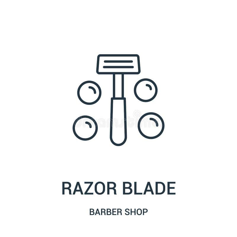 vector del icono de la hoja de afeitar de la colección de la peluquería de caballeros Línea fina ejemplo del vector del icono del libre illustration