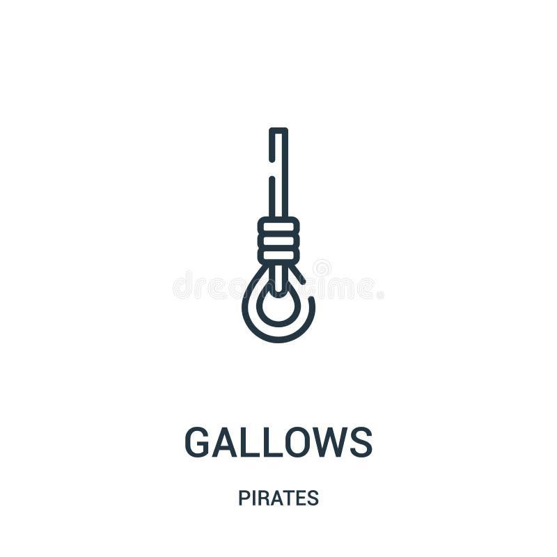 vector del icono de la horca de la colección de los piratas Línea fina ejemplo del vector del icono del esquema de la horca Símbo ilustración del vector