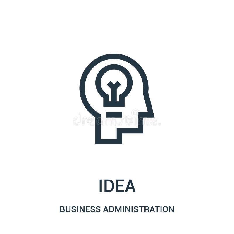 vector del icono de la idea de la colección de la administración de empresas Línea fina ejemplo del vector del icono del esquema  stock de ilustración