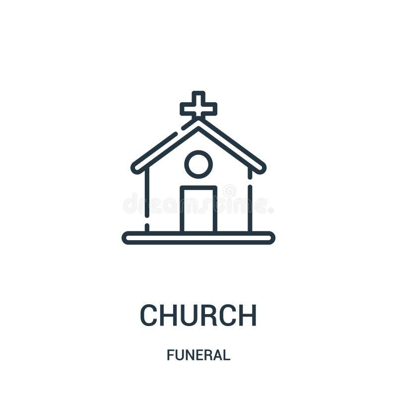 vector del icono de la iglesia de la colección fúnebre Línea fina ejemplo del vector del icono del esquema de la iglesia Símbolo  ilustración del vector
