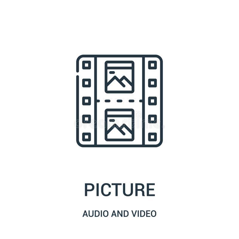 vector del icono de la imagen de la colección audio y video Línea fina ejemplo del vector del icono del esquema de la imagen stock de ilustración