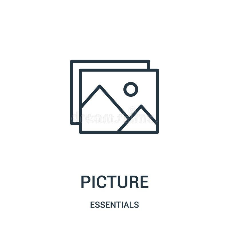 vector del icono de la imagen de la colección del esencial Línea fina ejemplo del vector del icono del esquema de la imagen Símbo stock de ilustración