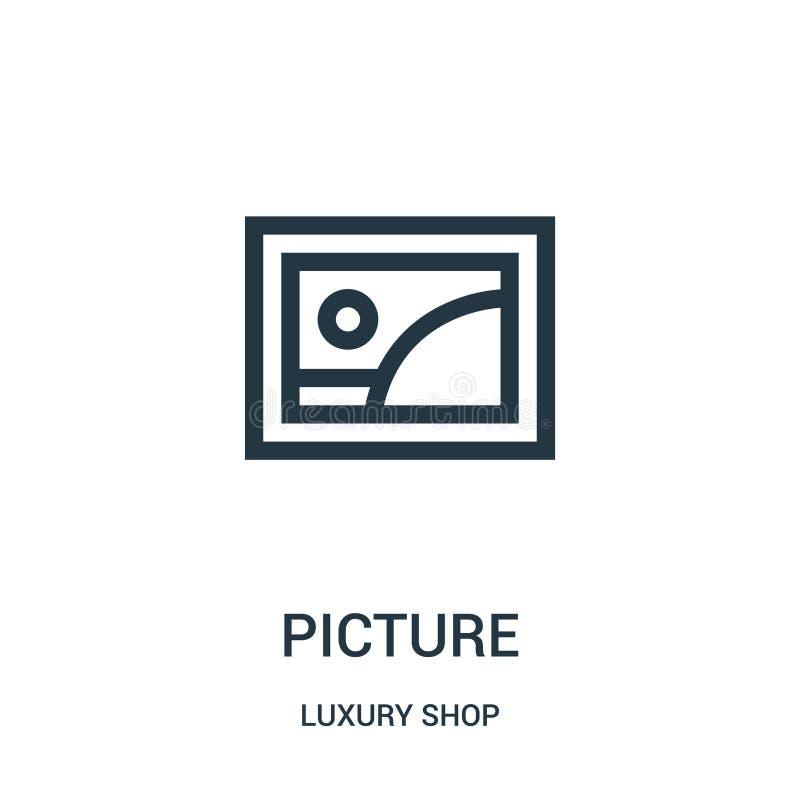 vector del icono de la imagen de la colección de lujo de la tienda Línea fina ejemplo del vector del icono del esquema de la imag ilustración del vector