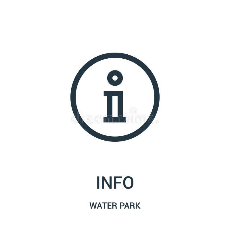 vector del icono de la información de la colección del parque del agua Línea fina ejemplo del vector del icono del esquema de la  stock de ilustración