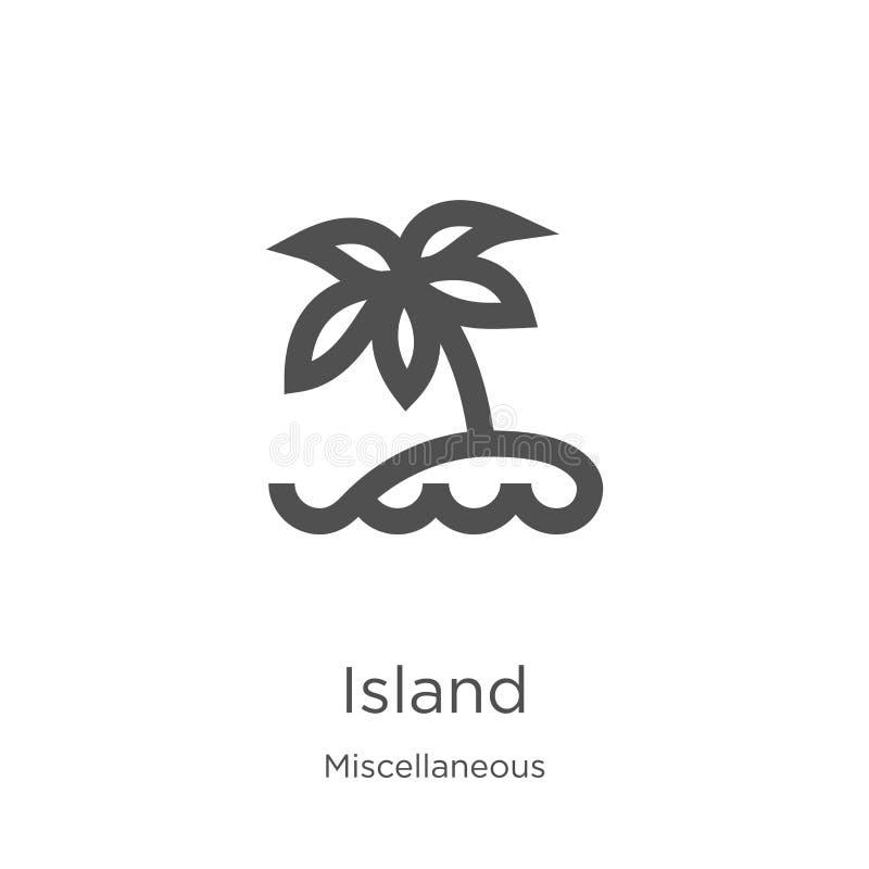vector del icono de la isla de la colección diversa Línea fina ejemplo del vector del icono del esquema de la isla Esquema, línea libre illustration