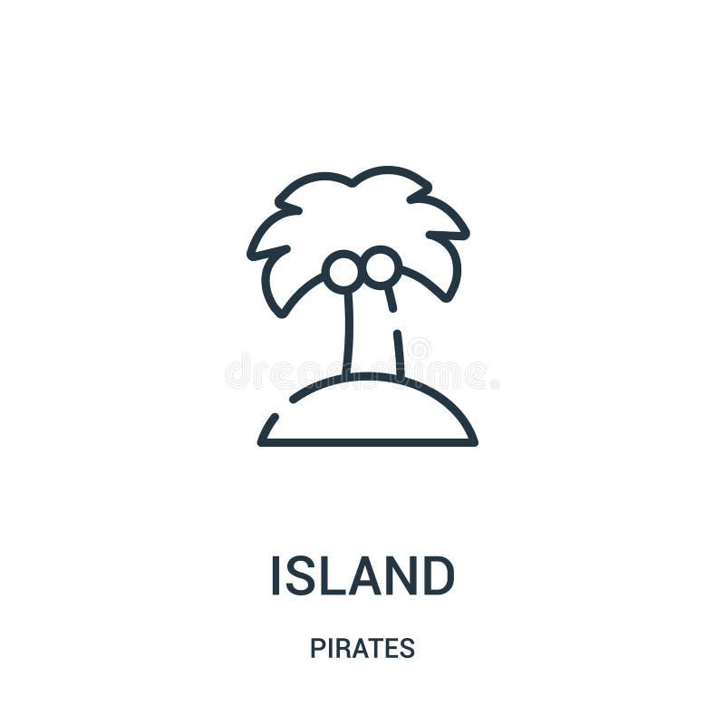 vector del icono de la isla de la colección de los piratas Línea fina ejemplo del vector del icono del esquema de la isla Símbolo libre illustration