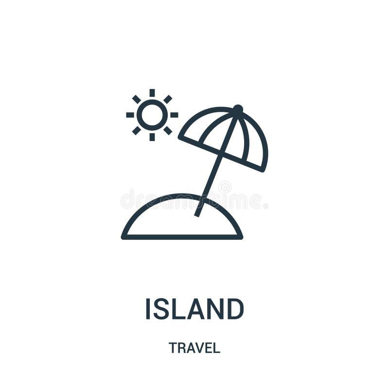 vector del icono de la isla de la colección del viaje Línea fina ejemplo del vector del icono del esquema de la isla Símbolo line libre illustration