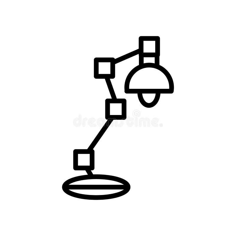 Vector del icono de la lámpara de escritorio aislado en la muestra blanca del fondo, de la lámpara de escritorio, la línea y elem stock de ilustración