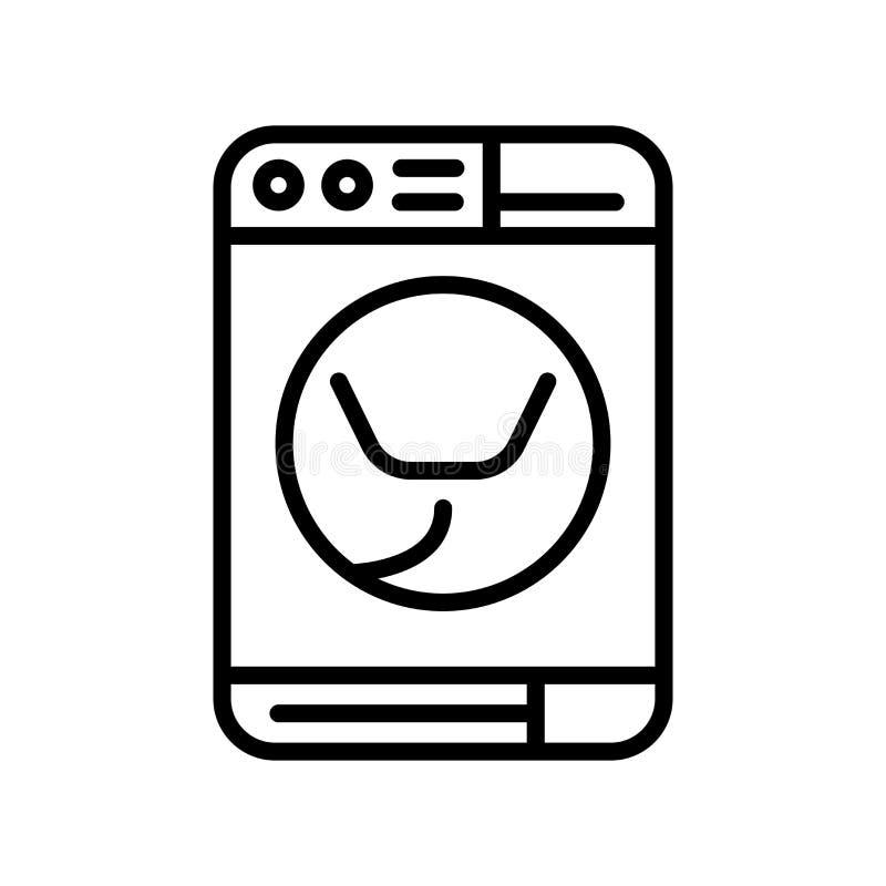 Vector del icono de la lavadora aislado en el fondo, la muestra de la lavadora, la línea y los elementos blancos del esquema en e stock de ilustración