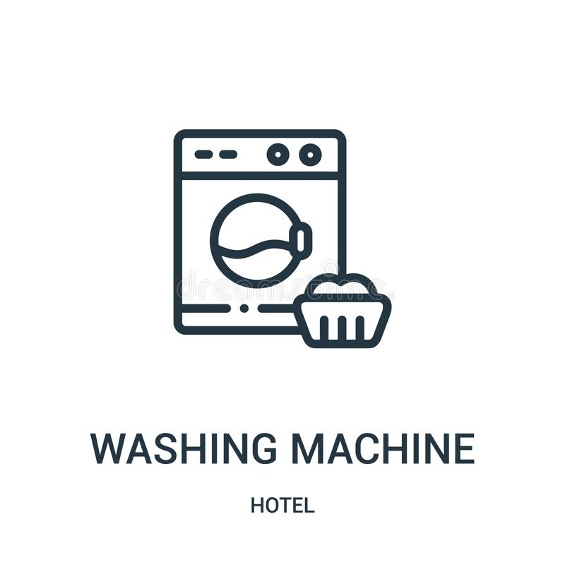 vector del icono de la lavadora de la colección del hotel L?nea fina ejemplo del vector del icono del esquema de la lavadora ilustración del vector