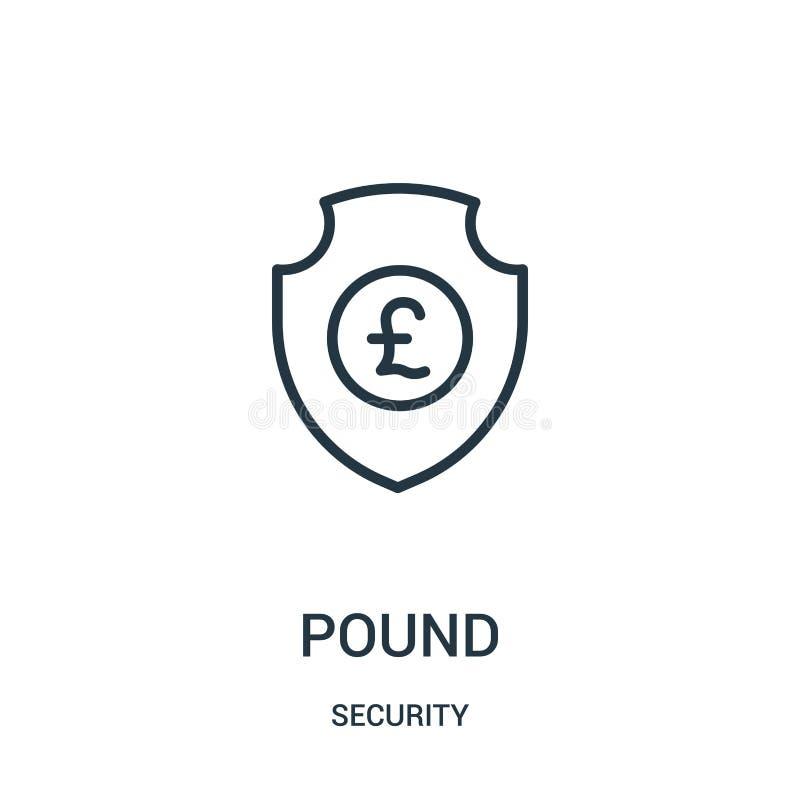 vector del icono de la libra de la colecci?n de la seguridad L?nea fina ejemplo del vector del icono del esquema de la libra S?mb libre illustration