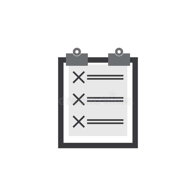 Vector del icono de la lista de control ejemplo del gráfico de vector de la lista de control stock de ilustración