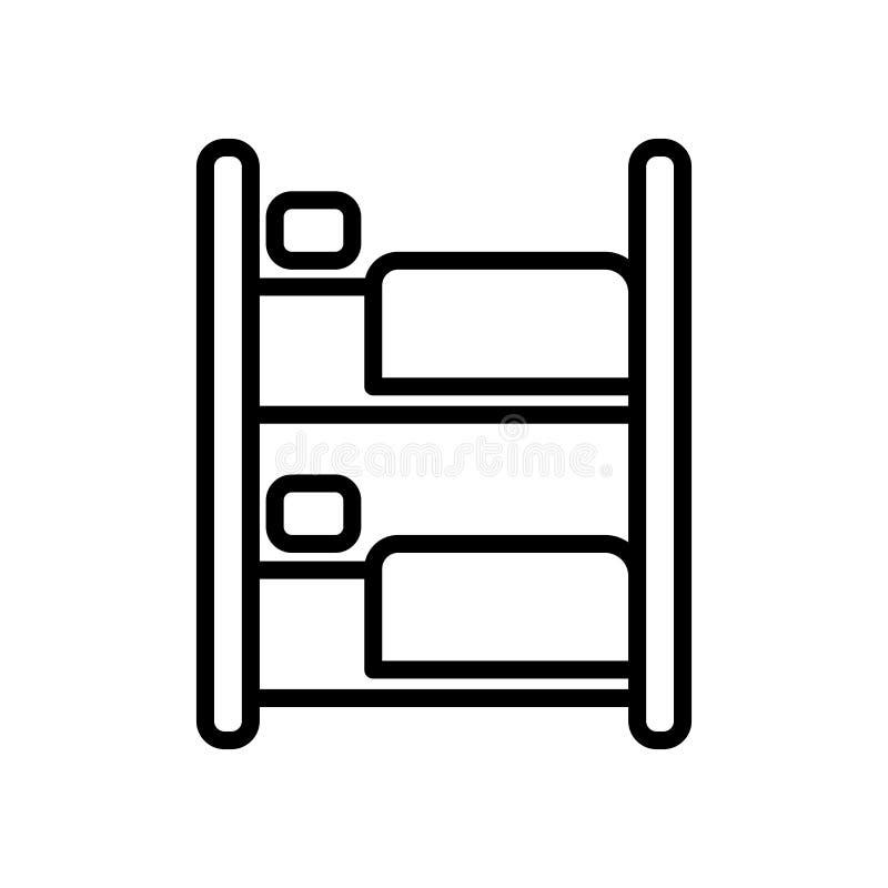 Vector del icono de la litera aislado en el fondo, la muestra de la litera, la línea y los elementos blancos del esquema en estil ilustración del vector
