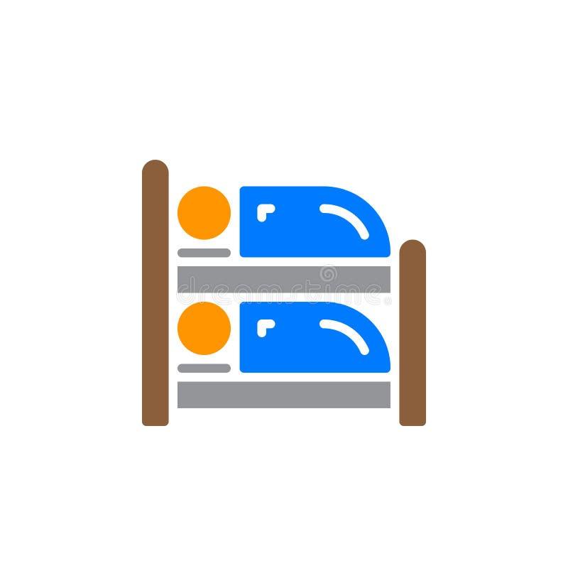 Vector del icono de la litera, muestra plana llenada, pictograma colorido sólido aislado en blanco ilustración del vector