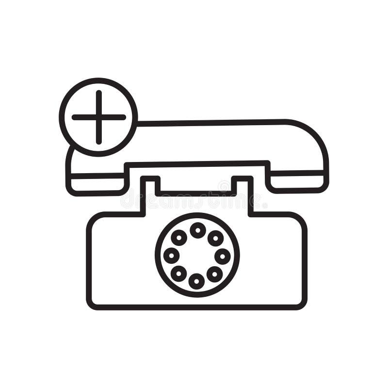 Vector del icono de la llamada de emergencia aislado en la muestra blanca del fondo, de la llamada de emergencia, la muestra y sí ilustración del vector