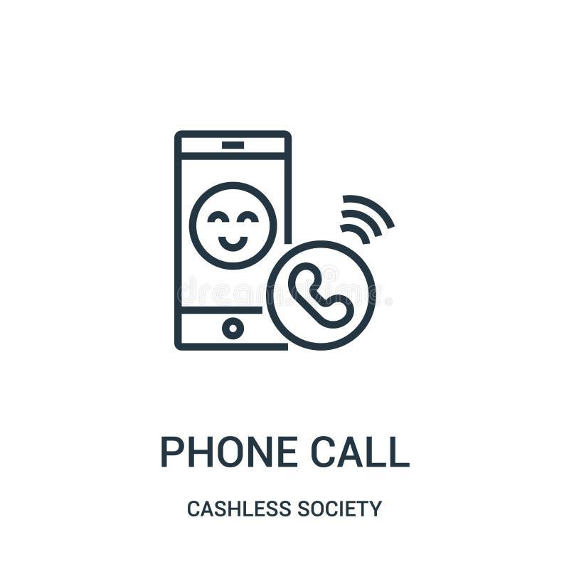vector del icono de la llamada de teléfono de la colección cashless de la sociedad Línea fina ejemplo del vector del icono del es stock de ilustración