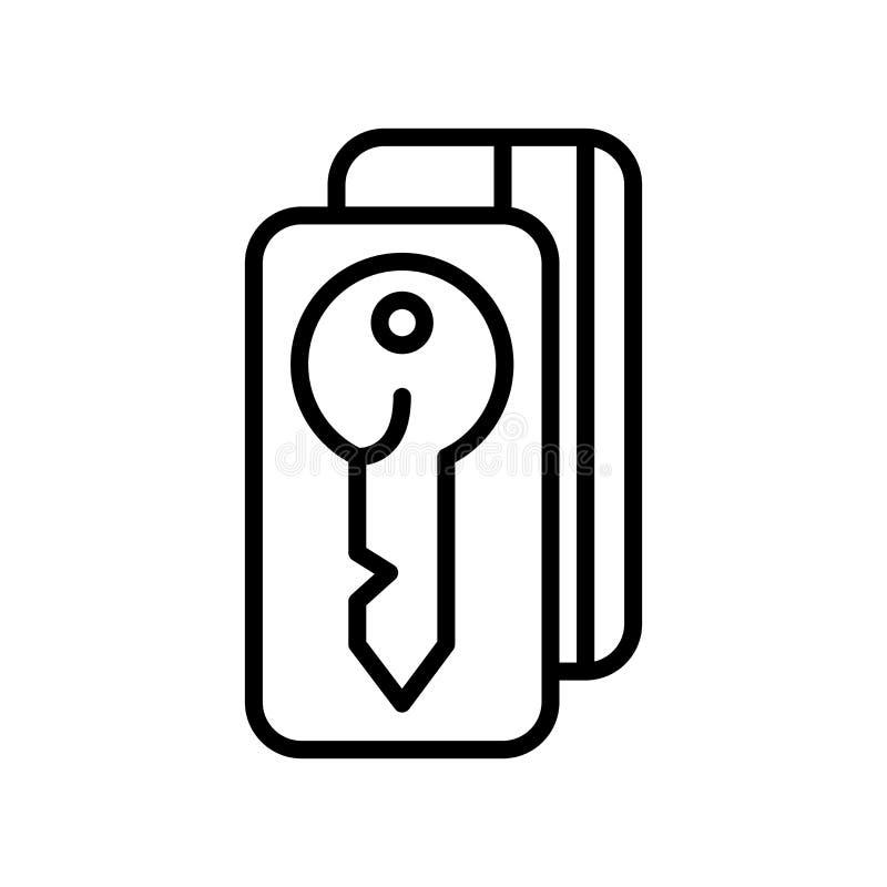 Vector del icono de la llave de la puerta aislado en la muestra blanca del fondo, de la llave de la puerta, la línea y elementos  libre illustration