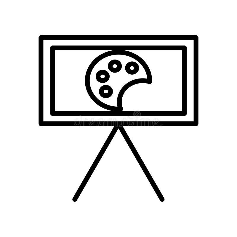 Vector del icono de la lona aislado en el fondo, la muestra de la lona, la línea y los elementos blancos del esquema en estilo li ilustración del vector
