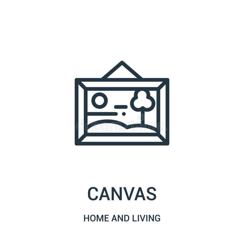 vector del icono de la lona del hogar y de la colección viva Línea fina ejemplo del vector del icono del esquema de la lona Símbo libre illustration