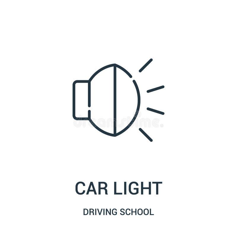 vector del icono de la luz del coche de la colección de la escuela de conducción Línea fina ejemplo del vector del icono del esqu stock de ilustración