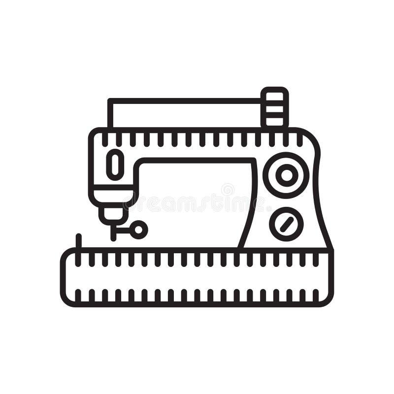 Vector del icono de la máquina de coser aislado en el fondo blanco, la muestra de la máquina de coser, la muestra y símbolos en e ilustración del vector