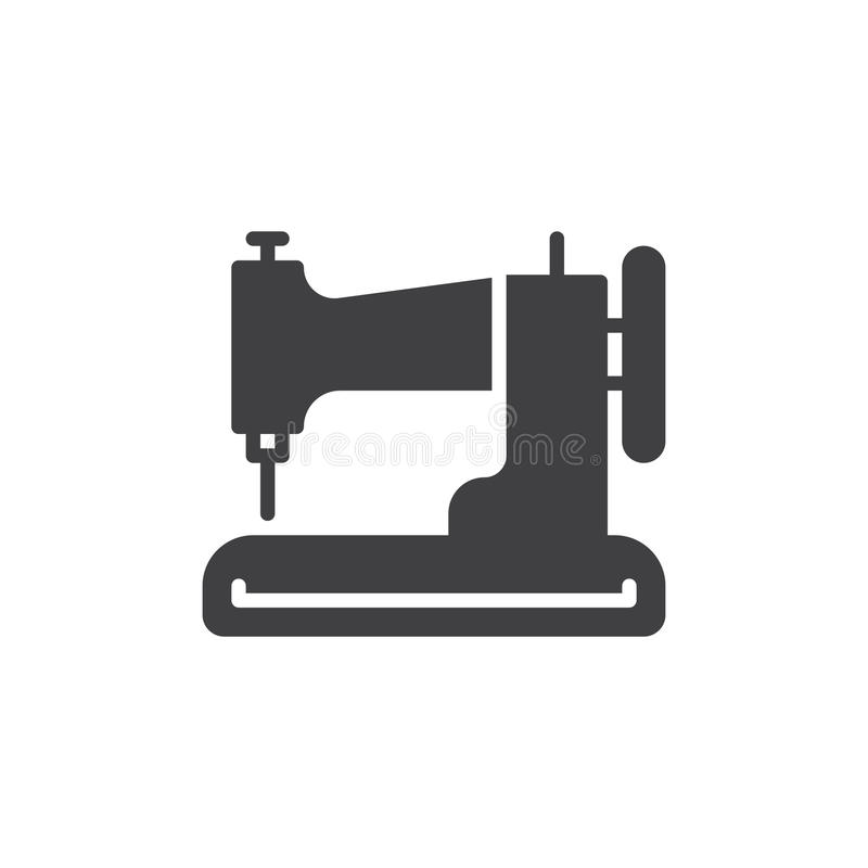 Vector del icono de la máquina de coser, muestra plana llenada, pictograma sólido aislado en blanco ilustración del vector