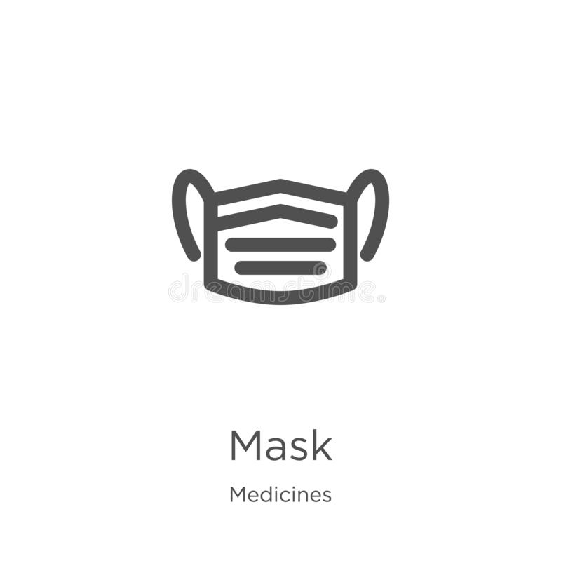 vector del icono de la máscara de la colección de las medicinas L?nea fina ejemplo del vector del icono del esquema de la m?scara libre illustration