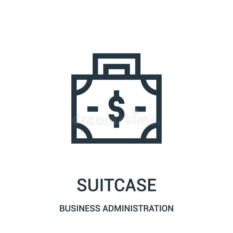 vector del icono de la maleta de la colección de la administración de empresas Línea fina ejemplo del vector del icono del esquem ilustración del vector