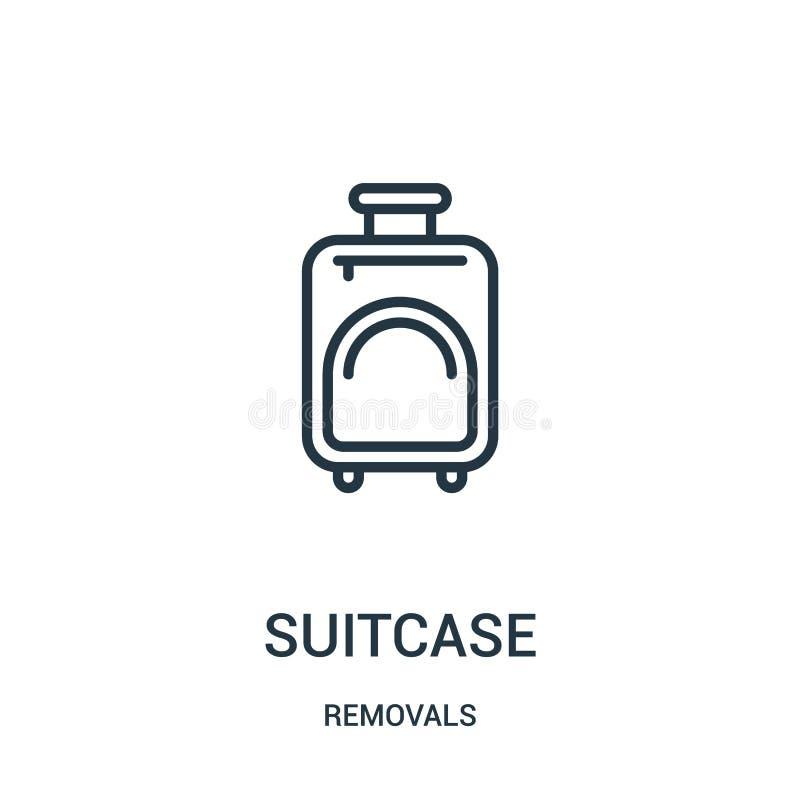 vector del icono de la maleta de la colección de los retiros Línea fina ejemplo del vector del icono del esquema de la maleta Sím stock de ilustración