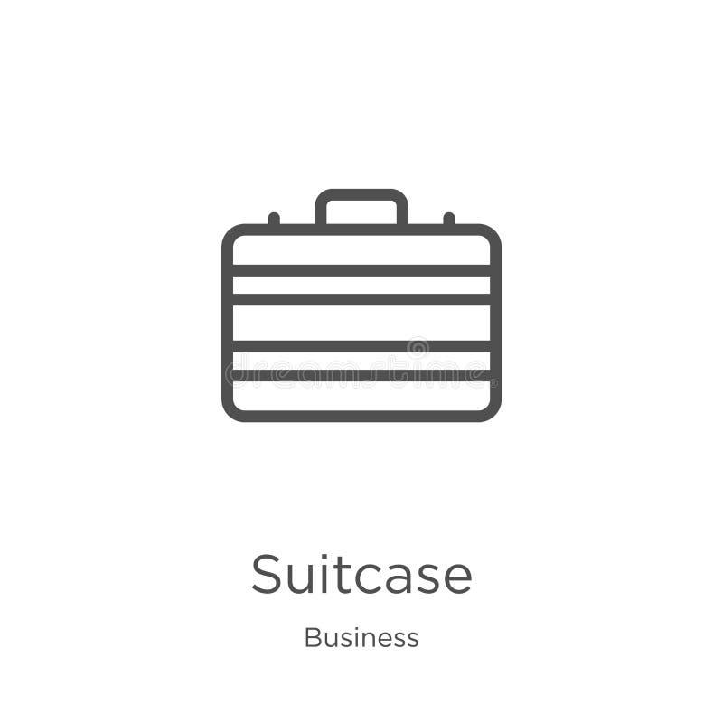vector del icono de la maleta de la colección del negocio L?nea fina ejemplo del vector del icono del esquema de la maleta Esquem libre illustration