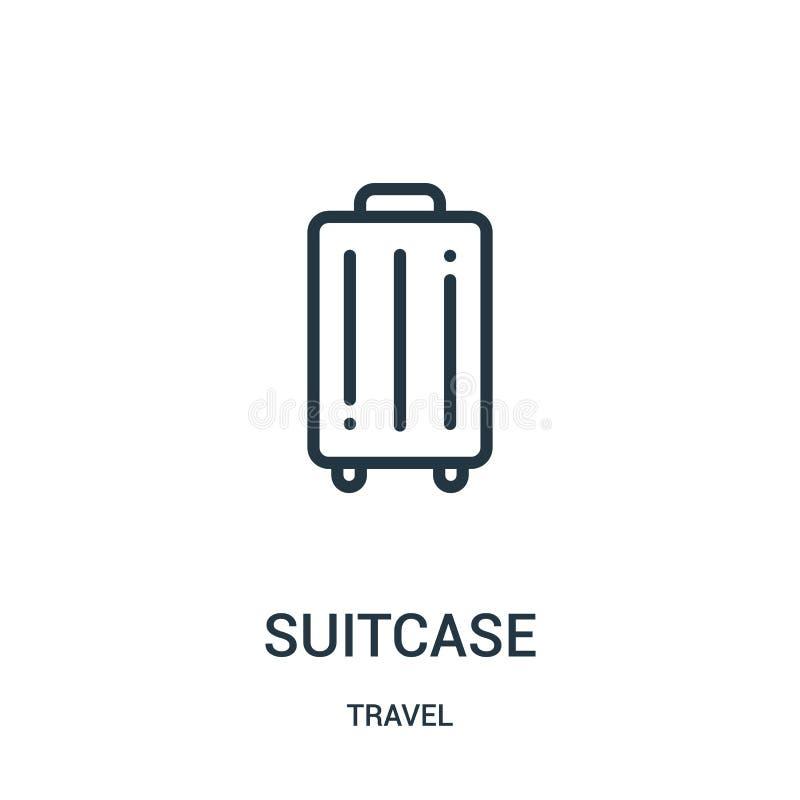 vector del icono de la maleta de la colección del viaje Línea fina ejemplo del vector del icono del esquema de la maleta Símbolo  ilustración del vector