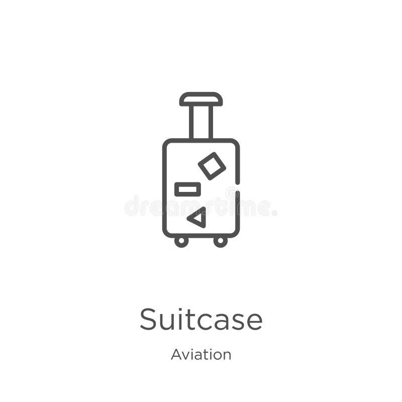 vector del icono de la maleta de la colecci?n de la aviaci?n L?nea fina ejemplo del vector del icono del esquema de la maleta Esq ilustración del vector