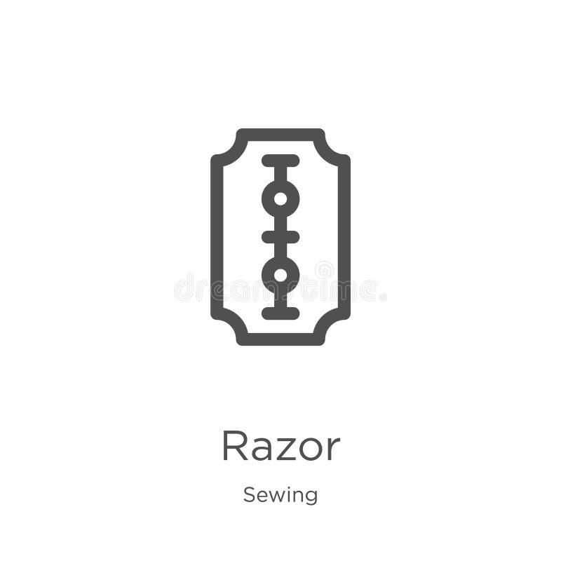 vector del icono de la maquinilla de afeitar de la colección de costura Línea fina ejemplo del vector del icono del esquema de la stock de ilustración