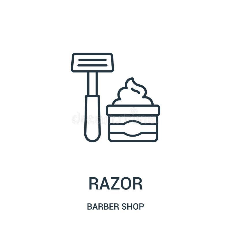 vector del icono de la maquinilla de afeitar de la colecci?n de la peluquer?a de caballeros L?nea fina ejemplo del vector del ico stock de ilustración