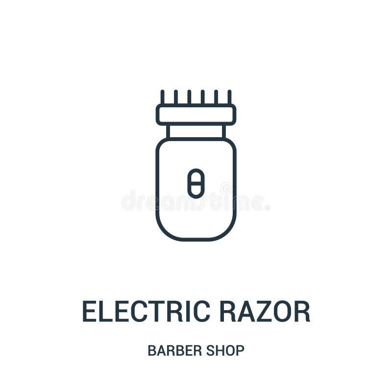 vector del icono de la maquinilla de afeitar eléctrica de la colección de la peluquería de caballeros Línea fina ejemplo del vect stock de ilustración