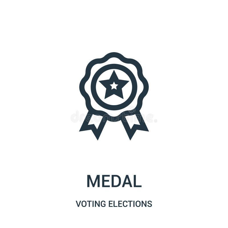 vector del icono de la medalla de la colección de votación de las elecciones L?nea fina ejemplo del vector del icono del esquema  ilustración del vector