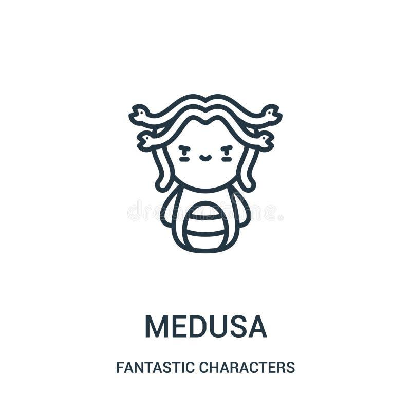 vector del icono de la medusa de la colección fantástica de los caracteres Línea fina ejemplo del vector del icono del esquema de stock de ilustración