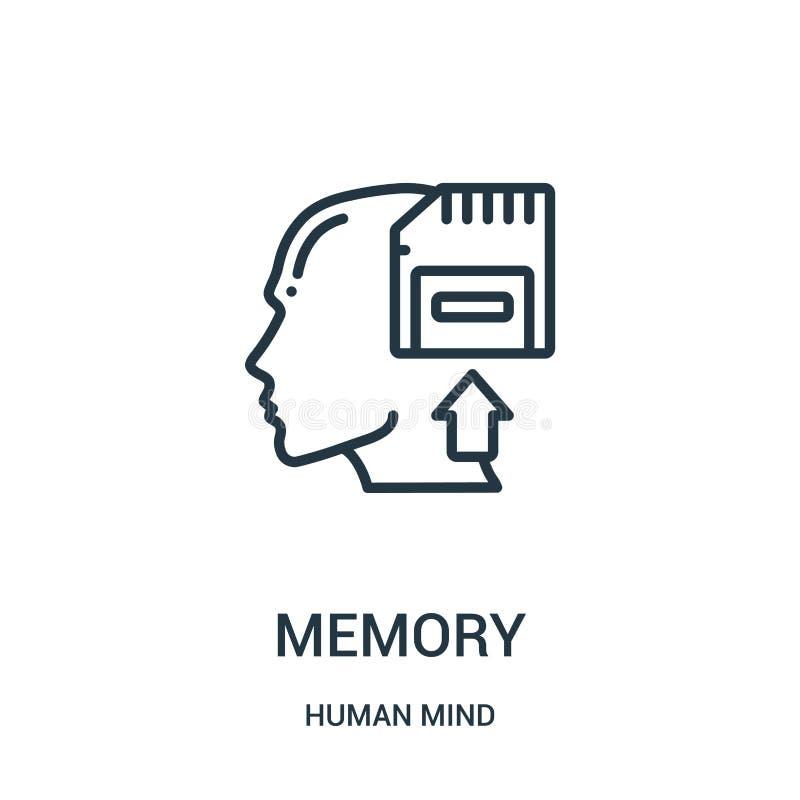 vector del icono de la memoria de la colección de la mente humana Línea fina ejemplo del vector del icono del esquema de la memor ilustración del vector