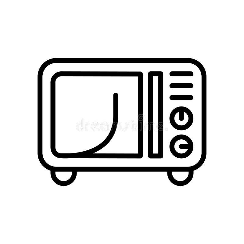 Vector del icono de la microonda aislado en el fondo, la muestra de la microonda, la línea y los elementos blancos del esquema en stock de ilustración