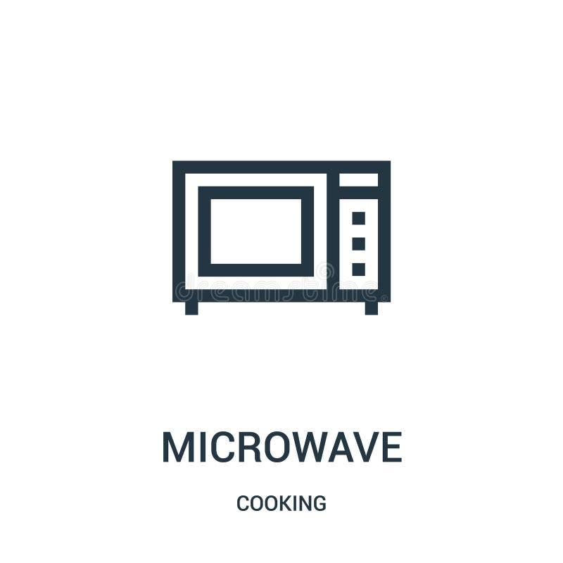 vector del icono de la microonda de cocinar la colección L?nea fina ejemplo del vector del icono del esquema de la microonda S?mb ilustración del vector